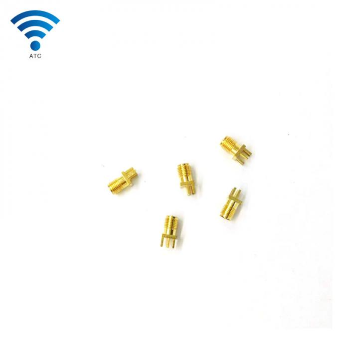 Solder Edge PCB Straight Mount Female Coax Connector , SMA Coaxial Cable Jack