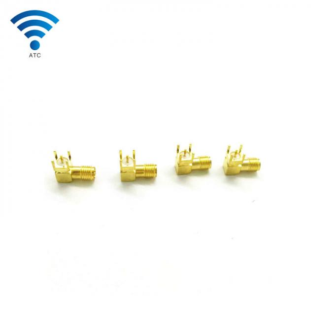 Gold Plated RF Coaxial Connector SMA Female Coaxial Plug Right Angle PCB Mount